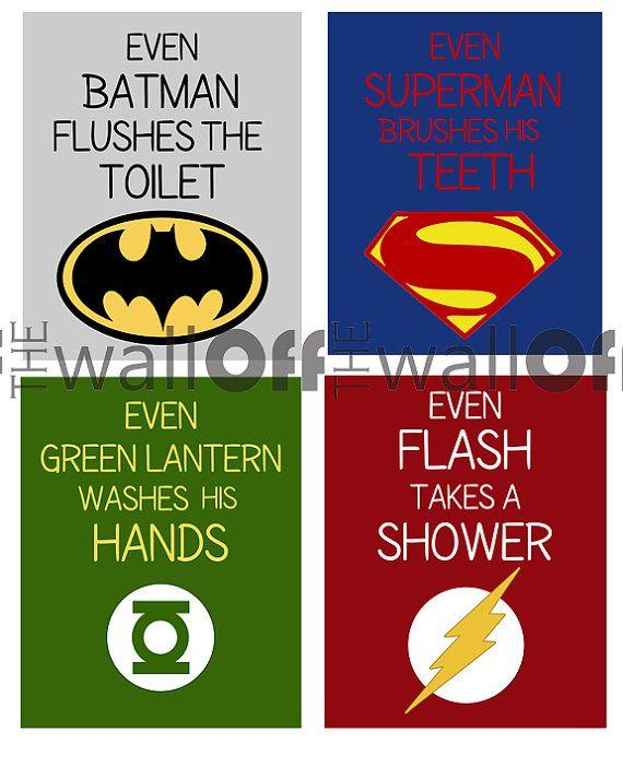 Superhero Bathroom Art Prints - Set of 4 8x10 - Custom Order