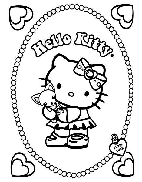 Hello Kitty Et Son Petit Chien Jpg 469 600 Hello Kitty Coloring Hello Kitty Colouring Pages Kitty Coloring