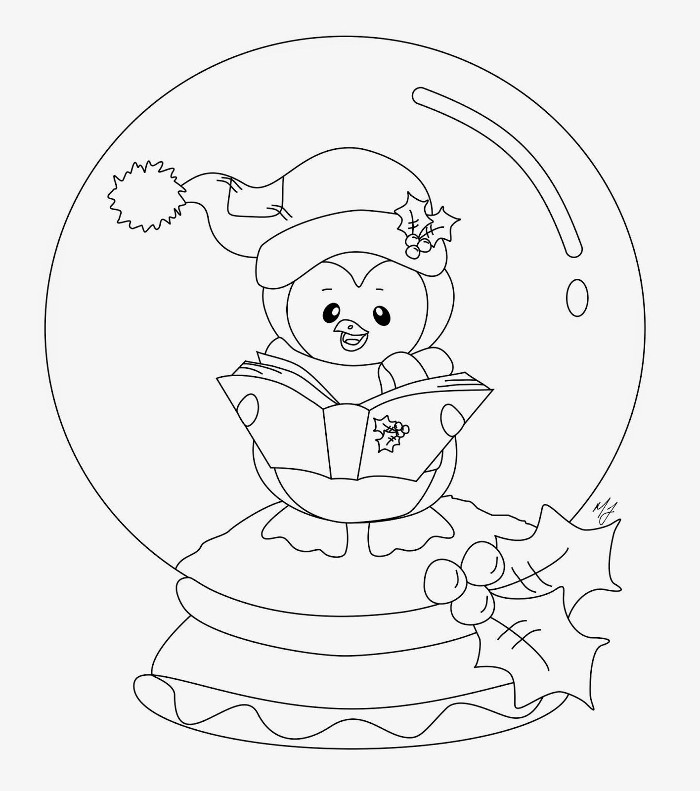 "Snow Globe Coloring Page Penguin2Bw 1416×1600  Icolor ""snow Globes""  Pinterest"