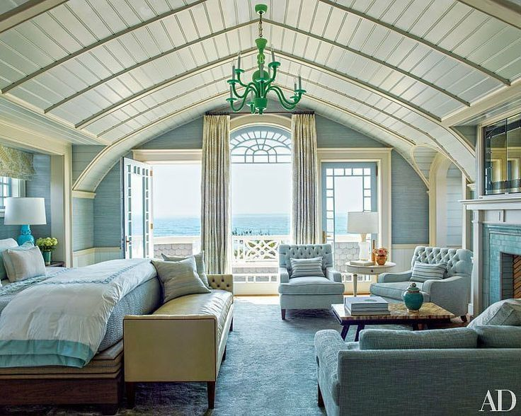 cottage master bedroom with high ceiling, french doors, crown