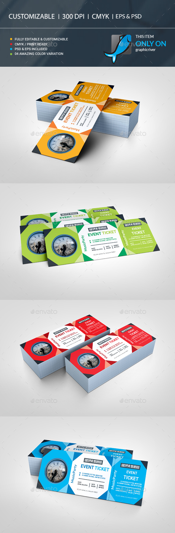 Event Ticket — PSD Template #carnival #event tickets #concert ...