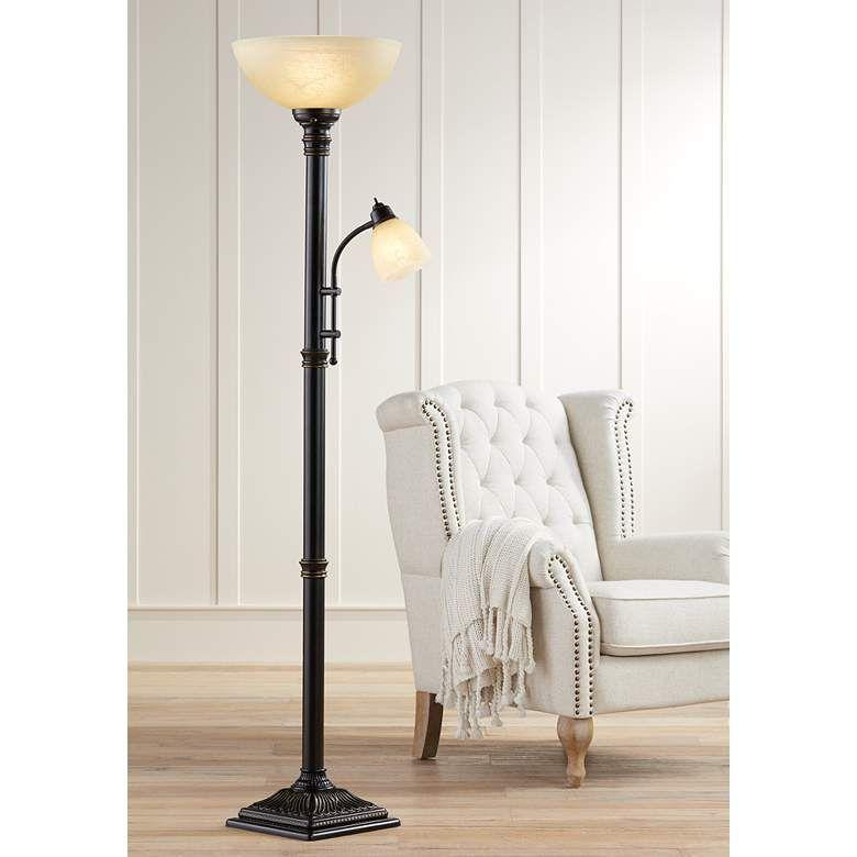 Garver Bronze Torchiere Floor Lamp With Reader Arm 8c397 Lamps Plus Torchiere Floor Lamp Reading Lamp Floor Indoor Floor Lamps