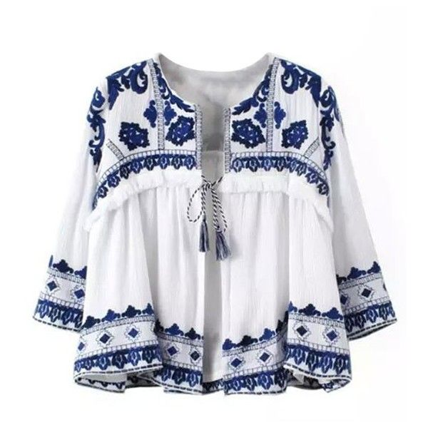 Greek Isle Round Neck Embroidered Flare Top 44 Liked On