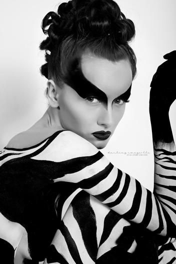 Zebra Face And Body Art Black And White Makeup Adult Face Painting Gorgeous Eyes
