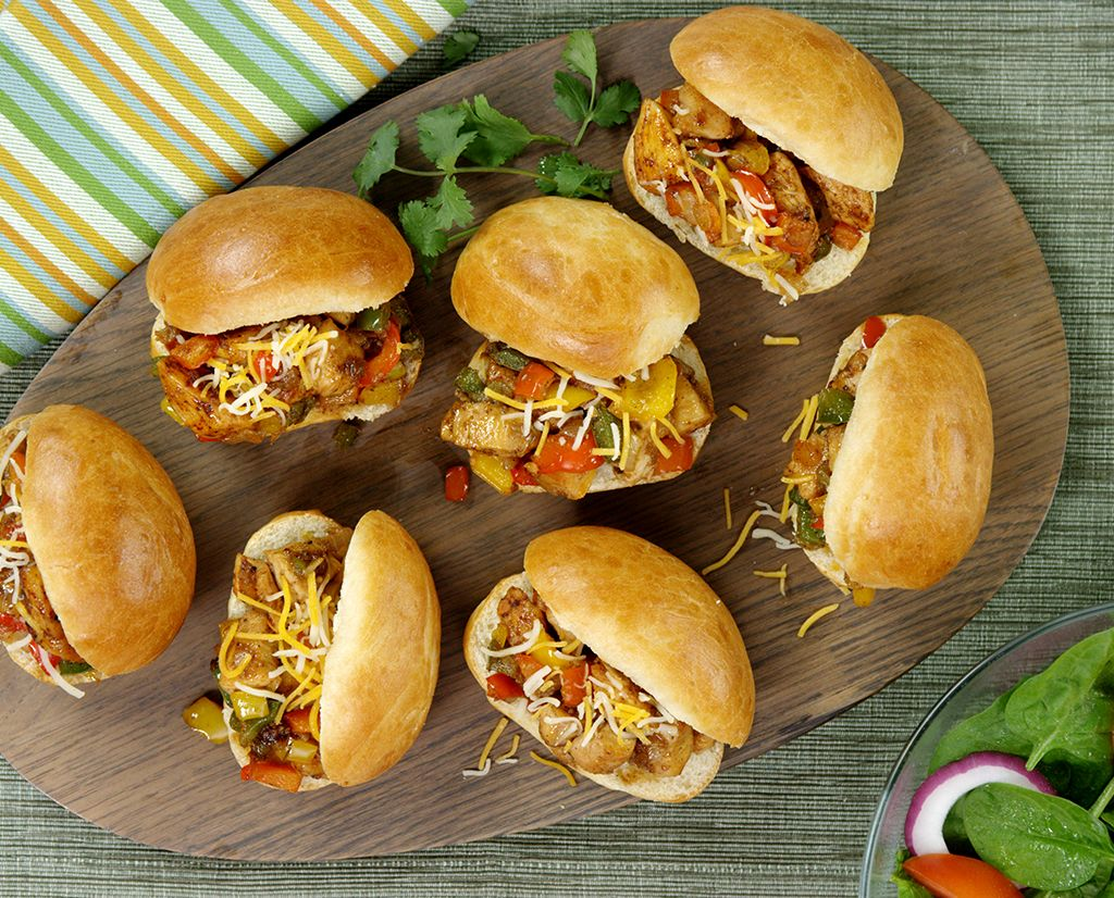 Organic Chicken Fajita Sliders is a great family-friendly food option.  http://www.fosterfarms.com/recipes/chef-specials/chicken-fajita-sliders/