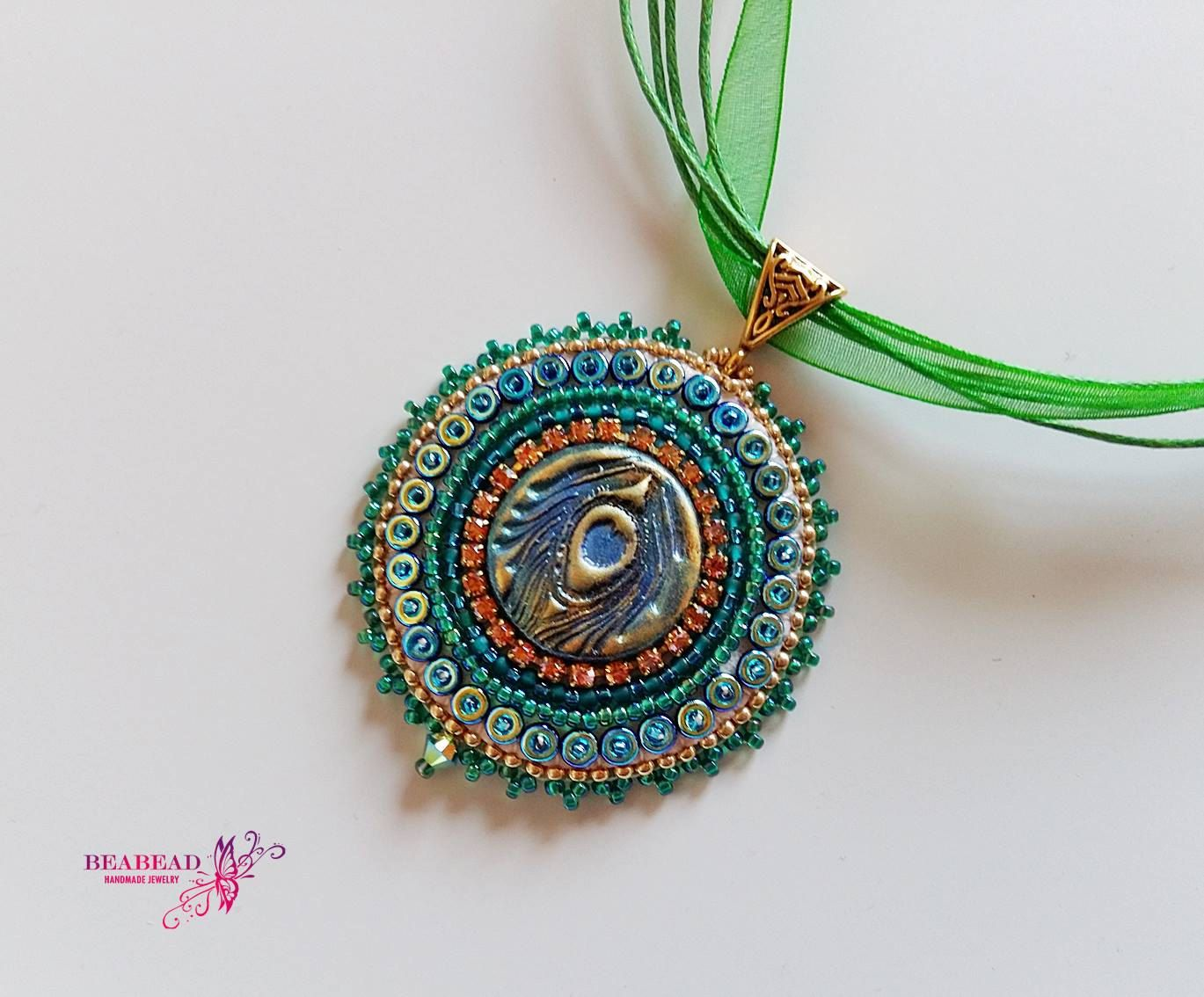 Bead embroidery pendant embroidered jewelry polymer clay cabochon bead embroidery pendant embroidered jewelry polymer clay cabochon handmade jewelry with peacock cabochon mozeypictures Image collections