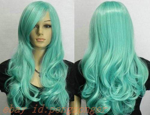 New Light Green Long Wavy women Cosplay Wig--Bulma  d6d4fc7d96