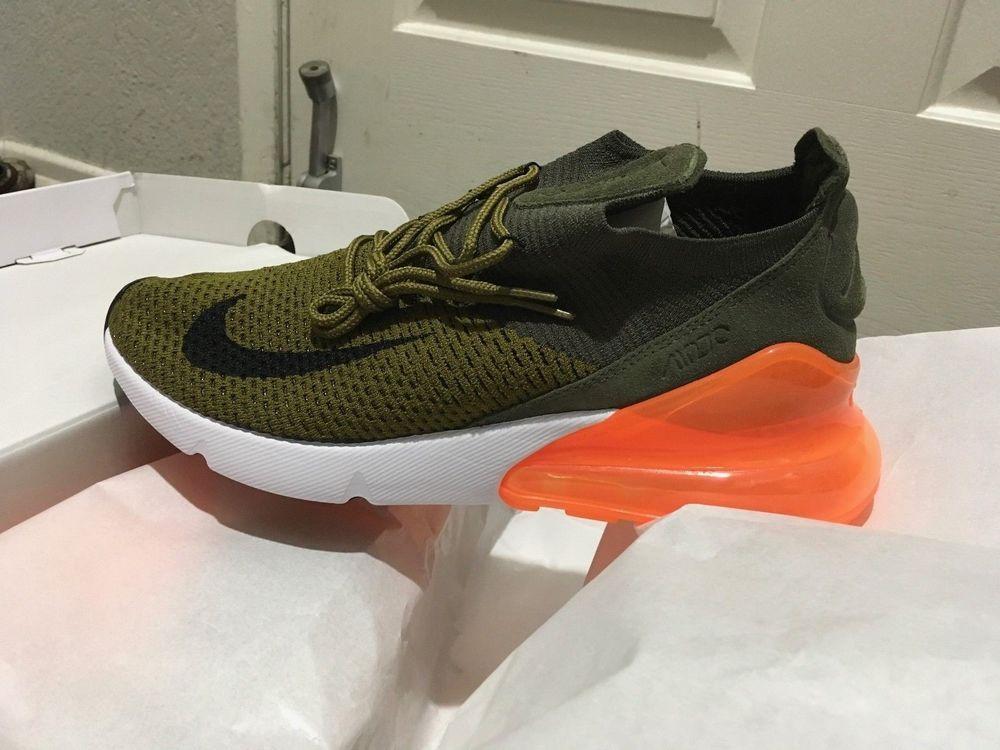 Nike Air Max 270 Flyknit Running Men Shoes Green Orange