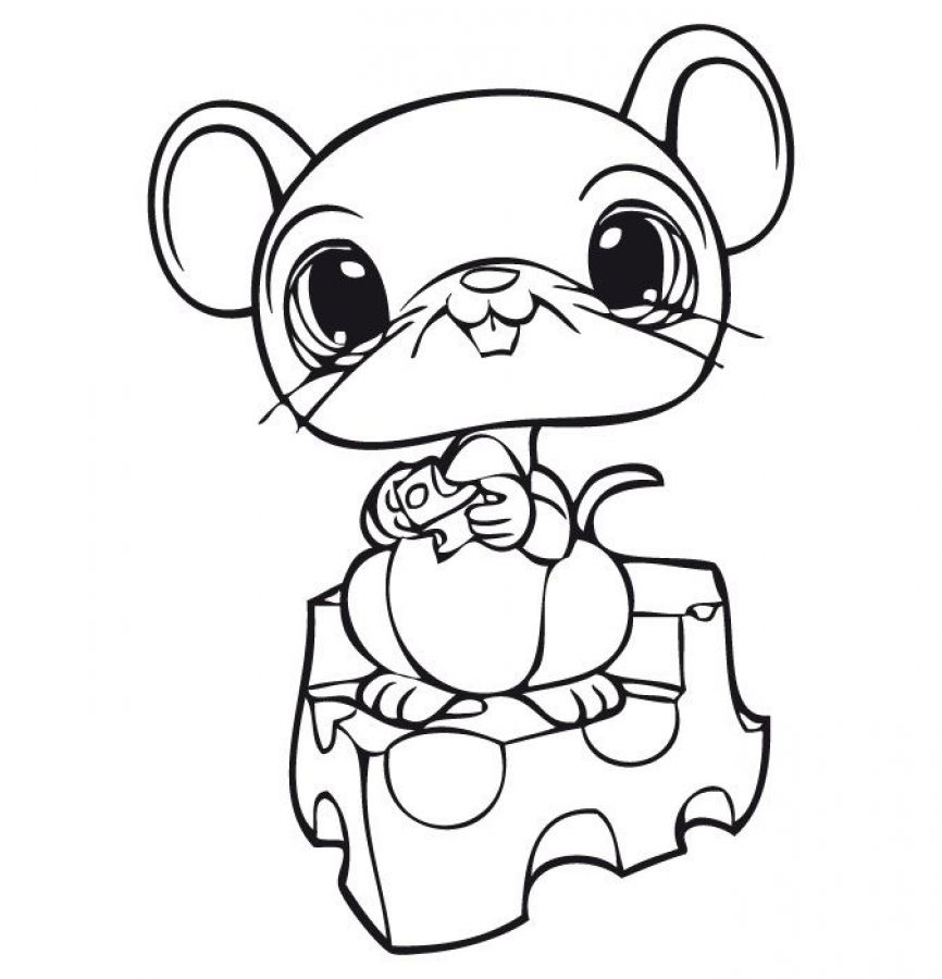 Littlest Pet Shop cute mouse eating cheese coloring pages