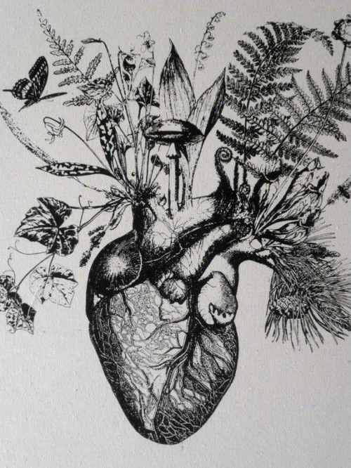 Growing human heart silk screened cotton canvas wall - Dessin coeur humain ...