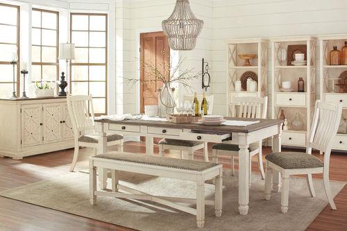Ashley Bolanburg Antique White 10 Pc Rectangular Dining Room Table 4 Upholstered Side Chai Rectangular Dining Room Table Dining Room Bench Dining Room Server