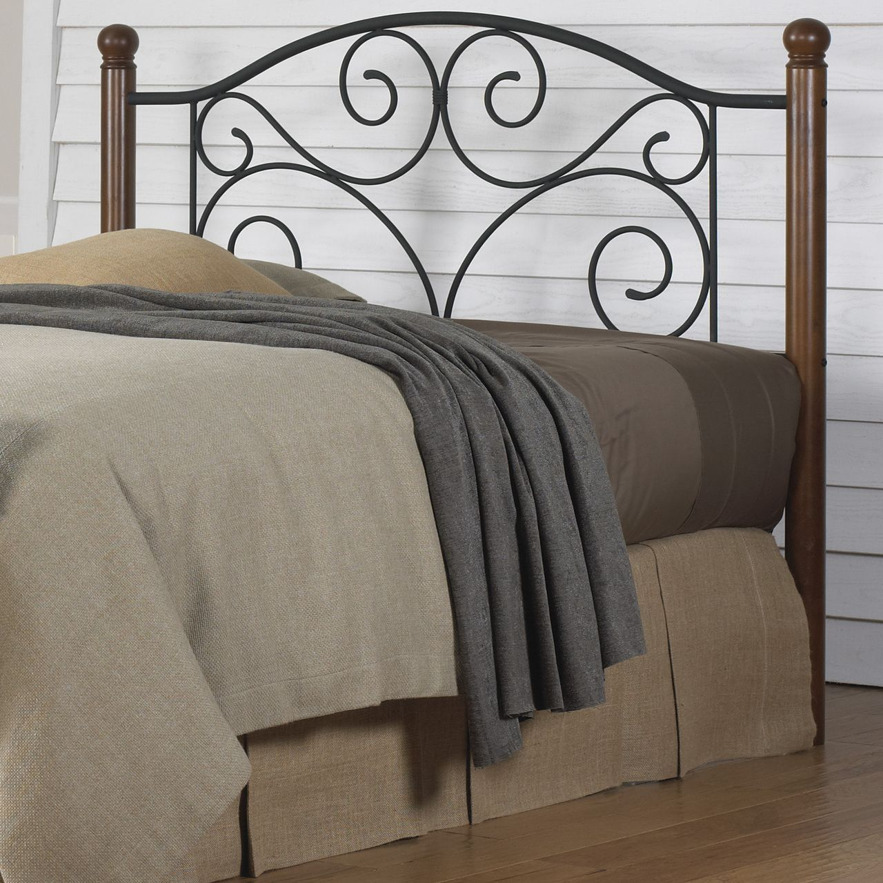 Fashion Bed Group Doral Iron Headboard In Matte Black And Walnut