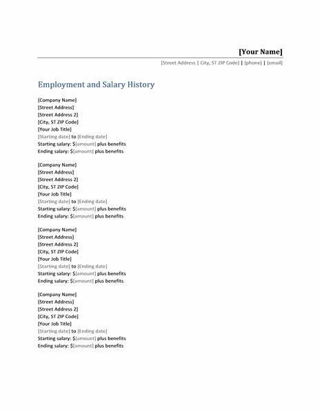 Employment and salary history list templates things to for Salary history template hourly