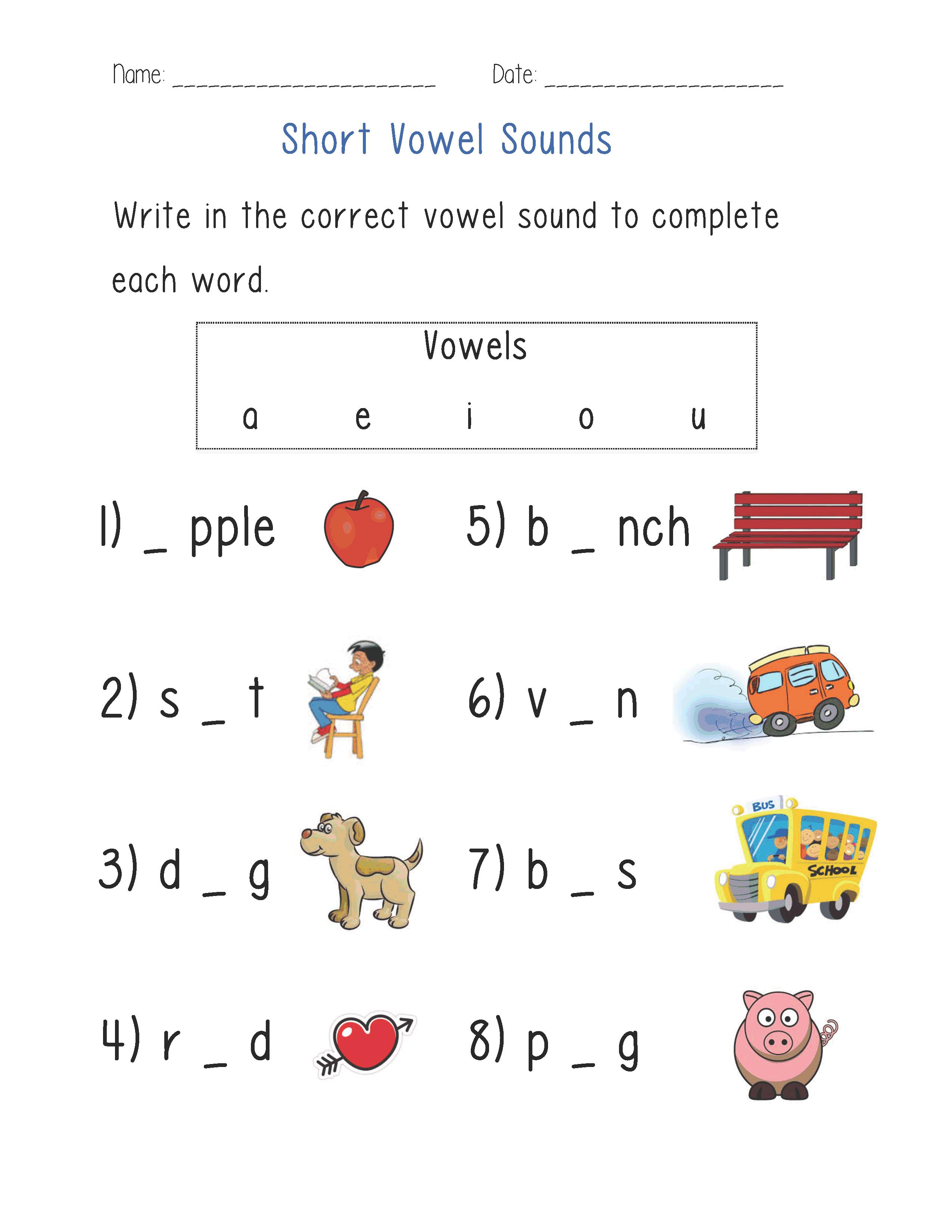 Short Vowel Sounds Worksheet Phonics Vowel Worksheets