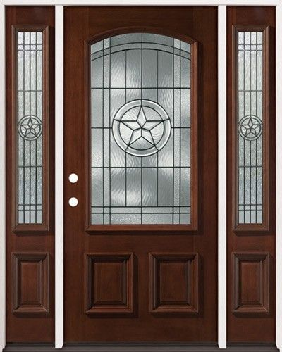 34 arch mahogany wood entry texas star with 2 sidelites front entry door