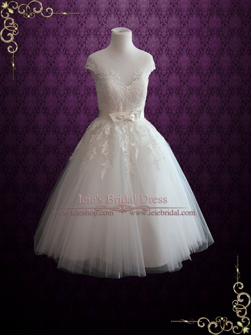 Disney wedding dresses jasmine  Ivory Retro Tea Length Wedding Dress with Illusion Neckline
