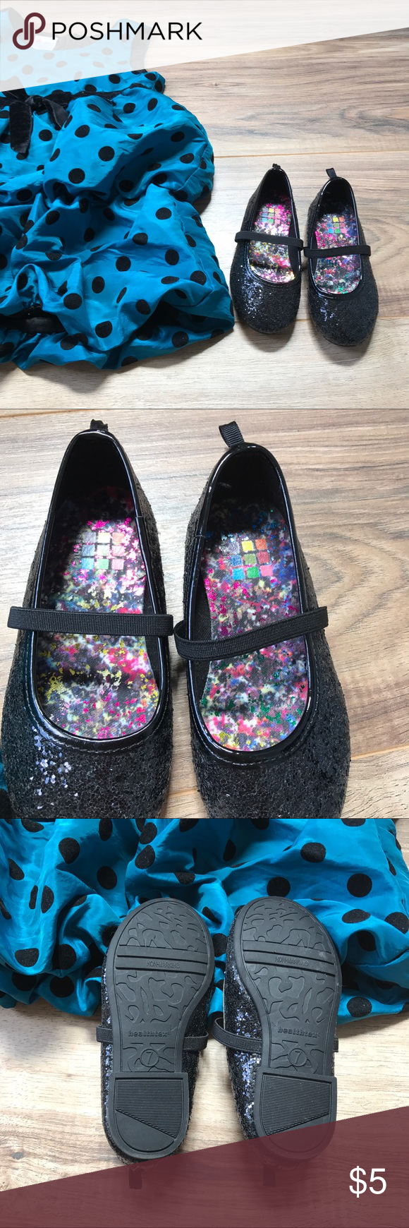 Size 7 little girl black sparkle shoes. 💗 Worn one time, EUC and super cute. 💗 Shoes Dress Shoes