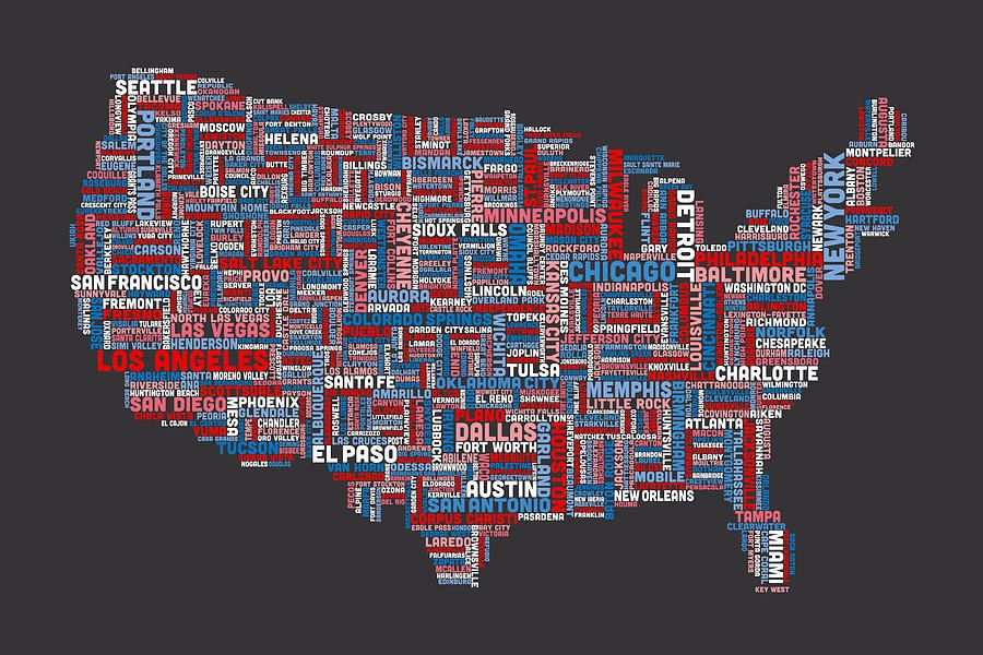 United states typography text map digital art illustration united states typography text map digital art gumiabroncs Images
