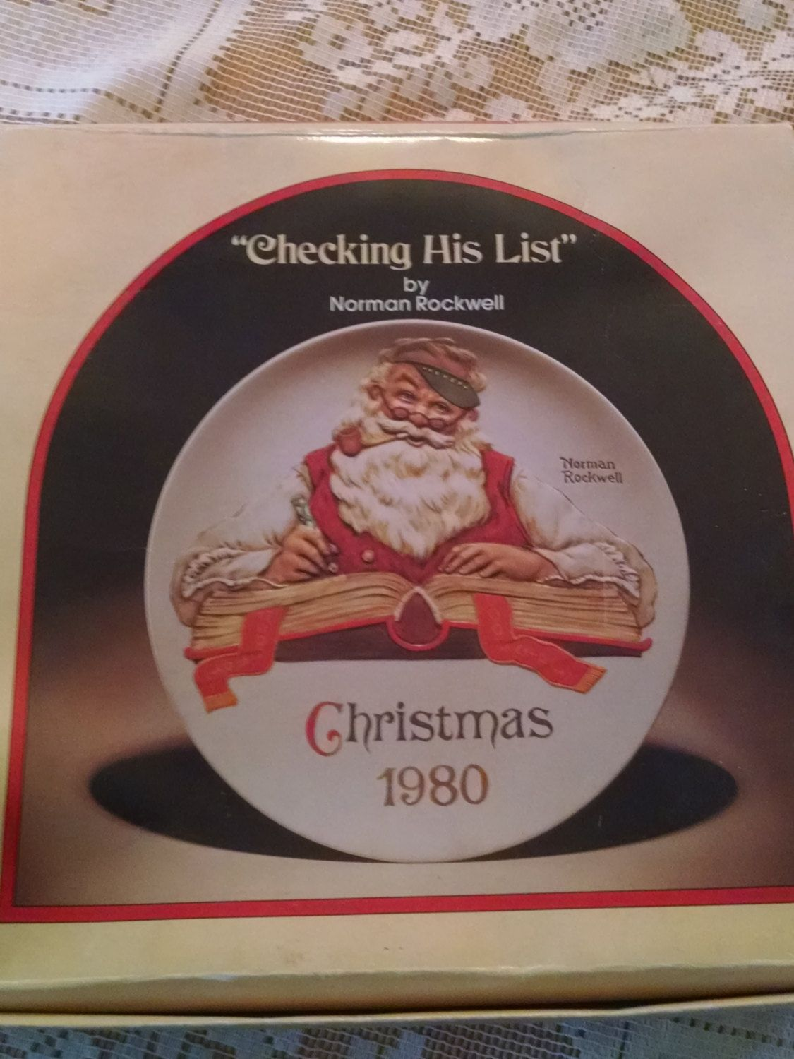 Christmas, Plate,Norman Rockwell, Checking his list 1980, NIB, Santa ...