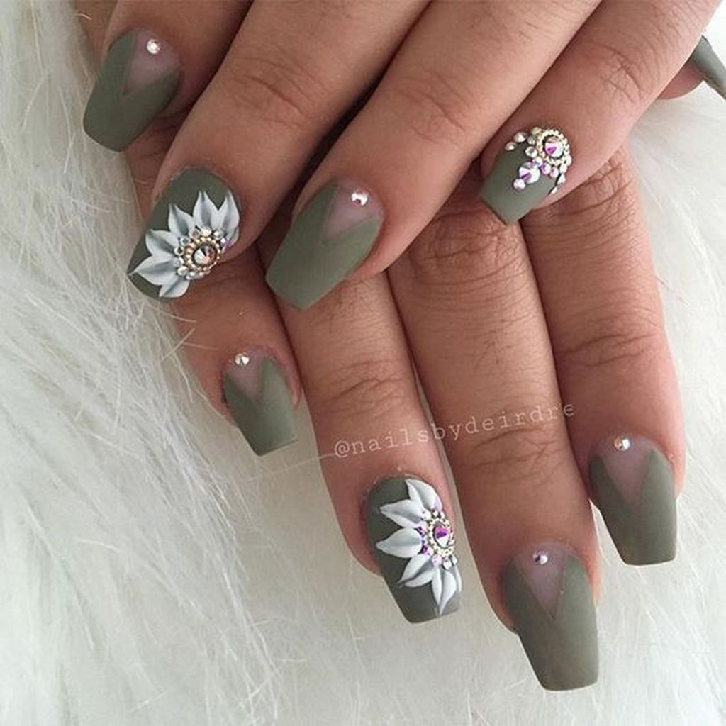 46 Cute Green Nail Art Designs Ideas To Try Green Nail Designs Green Nails Olive Nails