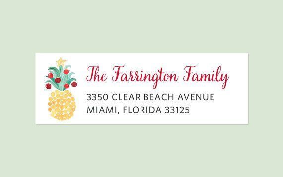 holiday pineapple return address labels holiday return address