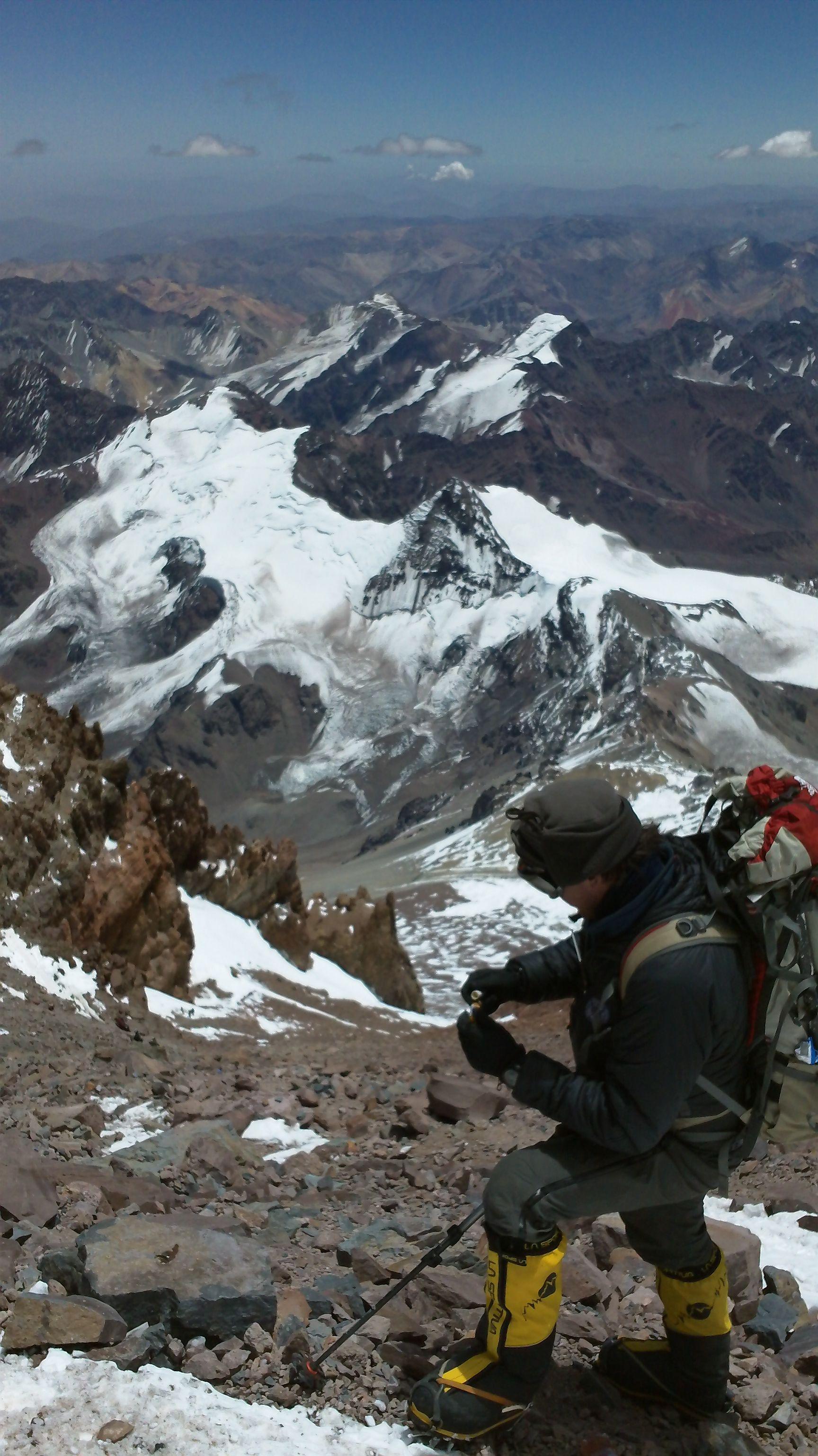 Nearing the summit on Aconcagua, Argentina