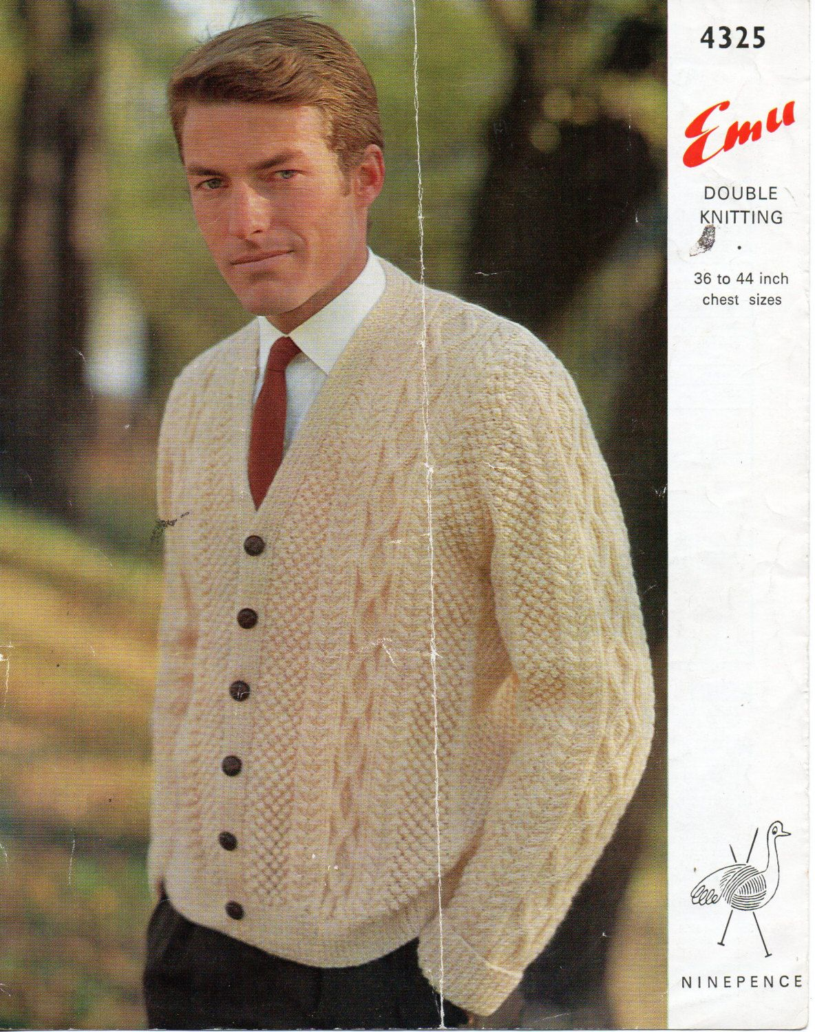 Vintage Mens Aran Cardigan Knitting Pattern Pdf Mens Aran Jacket V