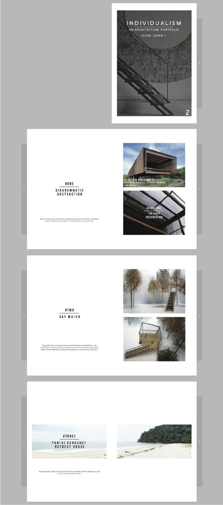 Architecture portfolio by Jhung Leung. It features simple layouts ...