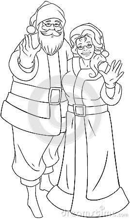 Vector illustration coloring page of Santa and Mrs Claus standing ...