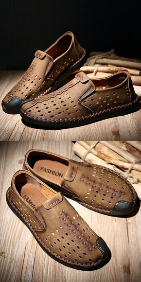 d63928d7082dc Amazon Men's Leather Summer Breathable Shoes Walking Slip On Loafers ...