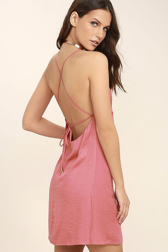 #AdoreWe #Lulus Womens - Designer Lulus Top Pick Rose Pink Slip Dress - AdoreWe.com