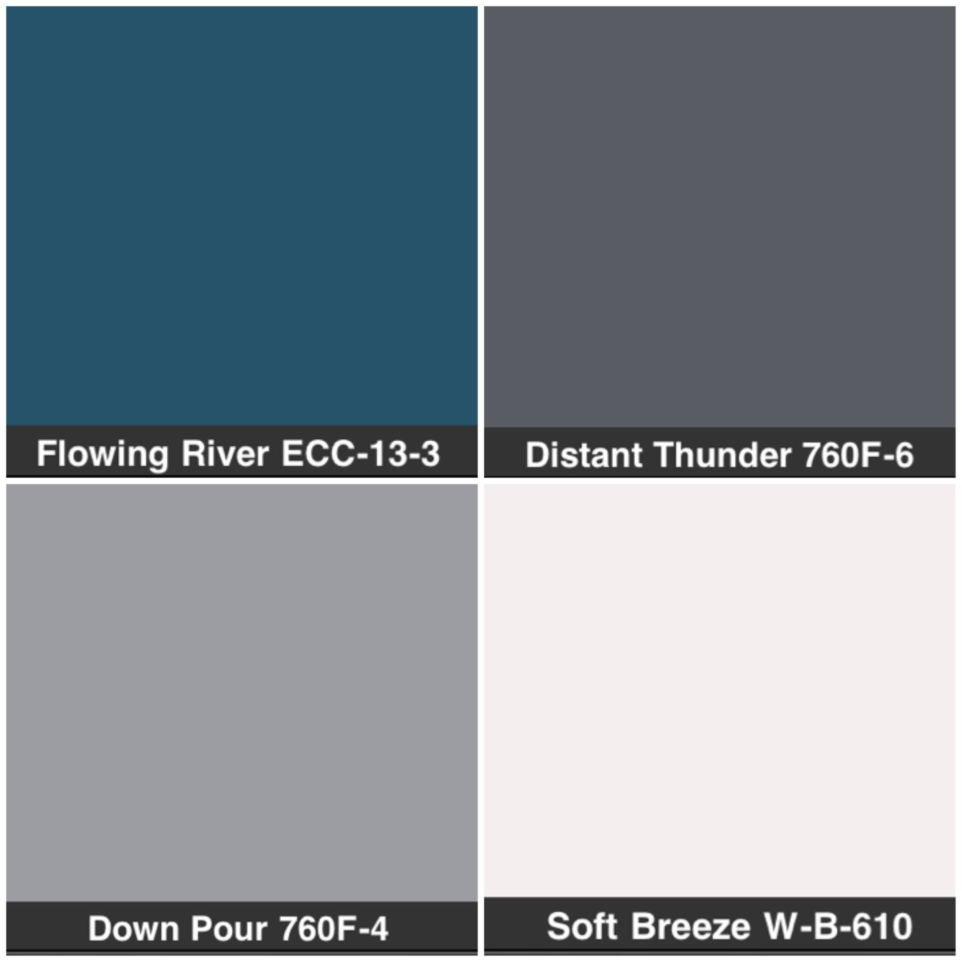 Behr color pallete Blue living room kitchen dining White bathrooms