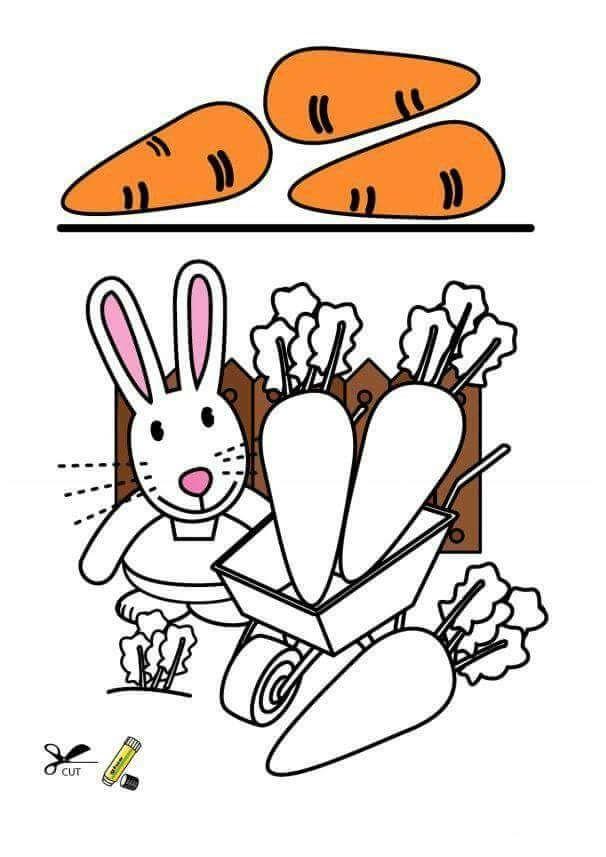 Okul öncesi Eğlenceli Kes Yapıştır Etkinlikleri Havuç Ve Tavşan