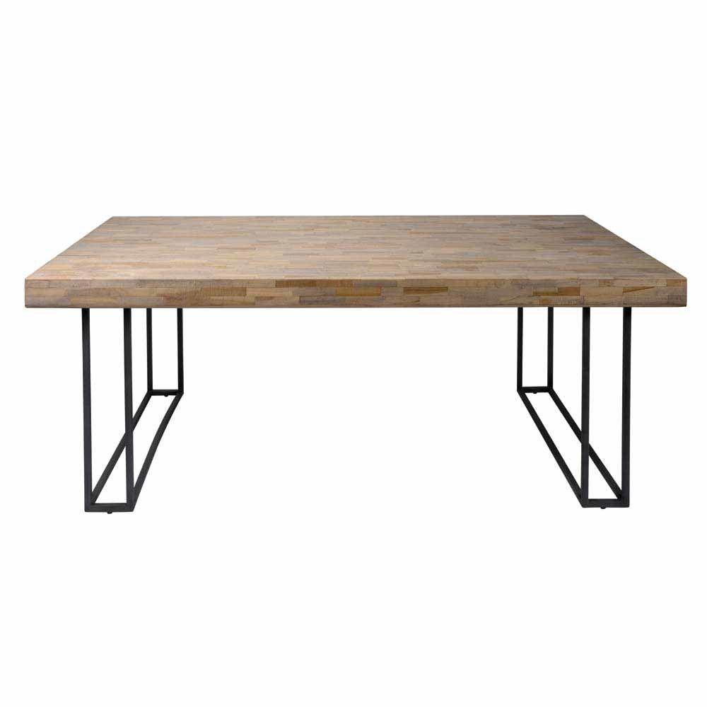 Massivholztisch aus Eiche mit Antik Finish Bügelgestell Metall Jetzt ...