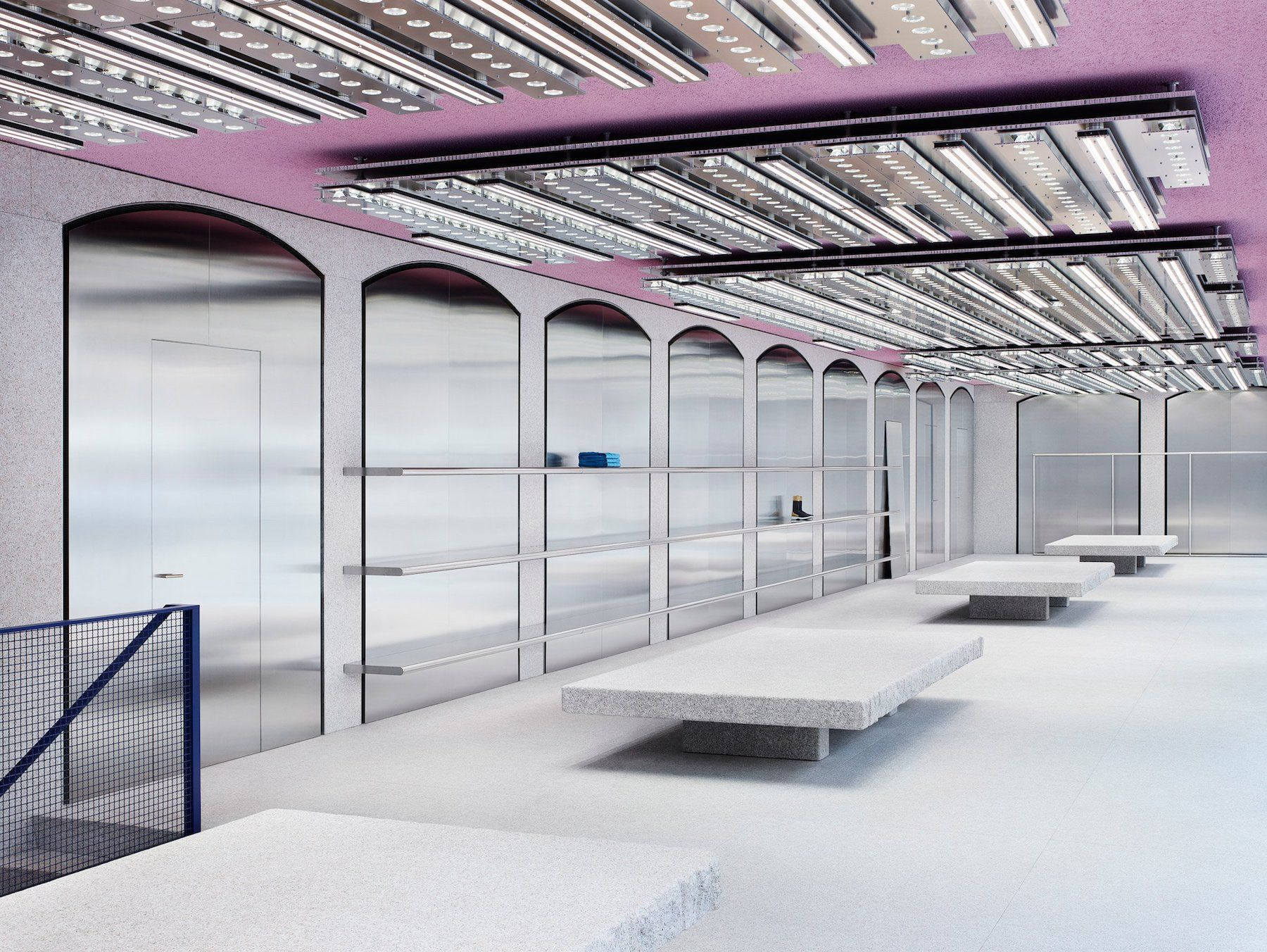 b261ba5d55f0 Acne Studios Milan is a minimalist store interior located in Milan, Italy,  designed by Jonny Johansson. The space is accented by a pink ceiling, ...