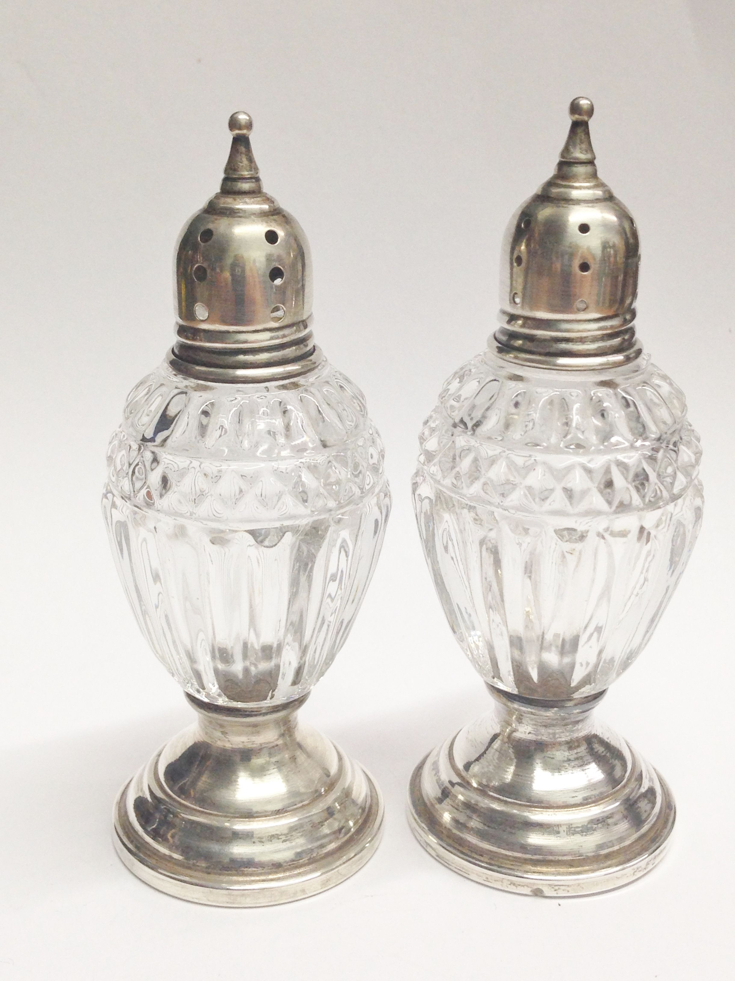 Antique Footed Sheffield Sterling Silver and Pressed Glass Salt