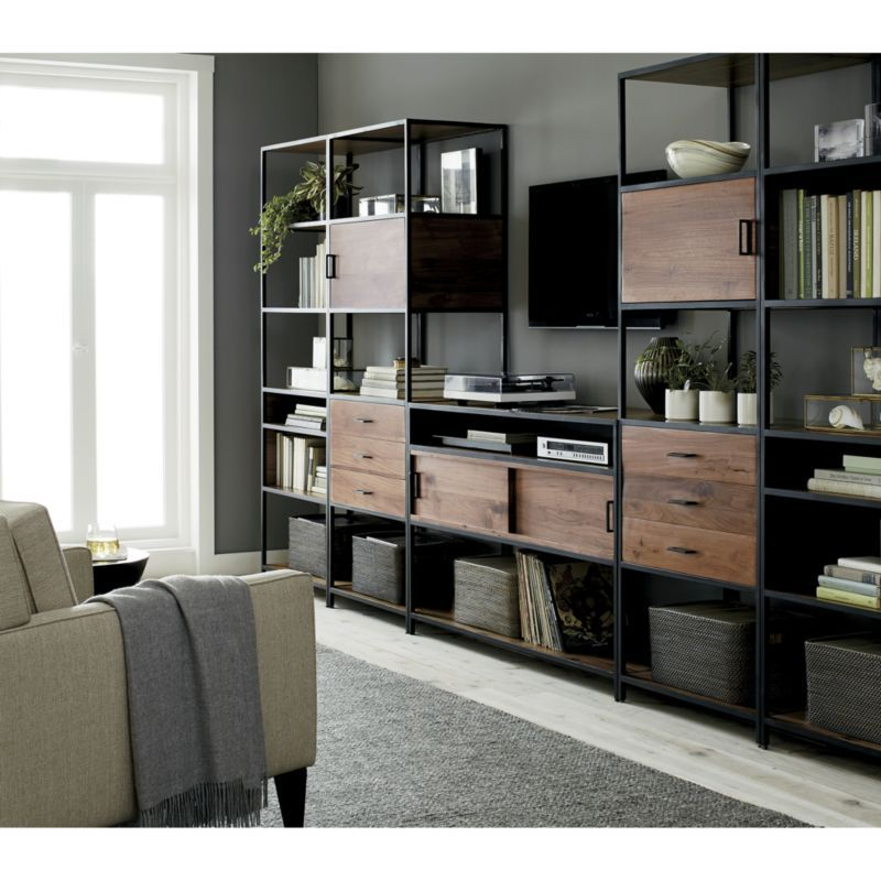Knox Media Console With 2 Tall Storage Bookcases Crate And Barrel