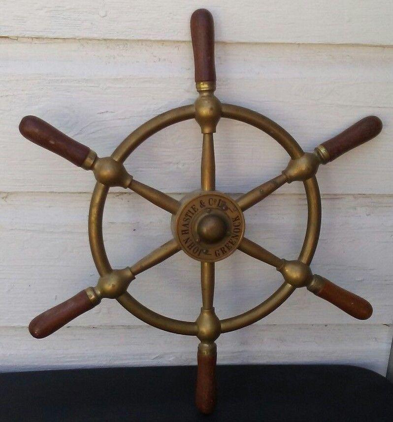 "Antique 18/"" Brass Nautical Set Of 2 Wooden Ship Wheel Vintage Captain Pirate"