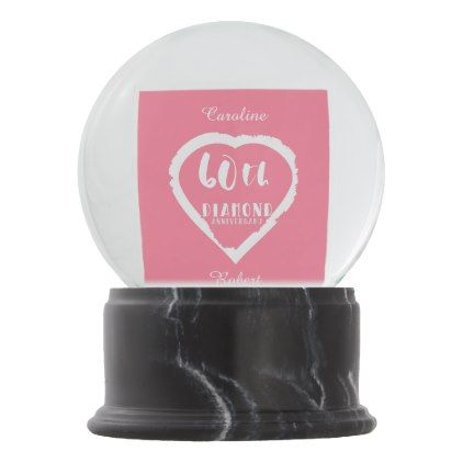 60th Wedding Anniversary Traditional Diamond Snow Globe Gifts Ideas Diy Celebration Cyo Unique
