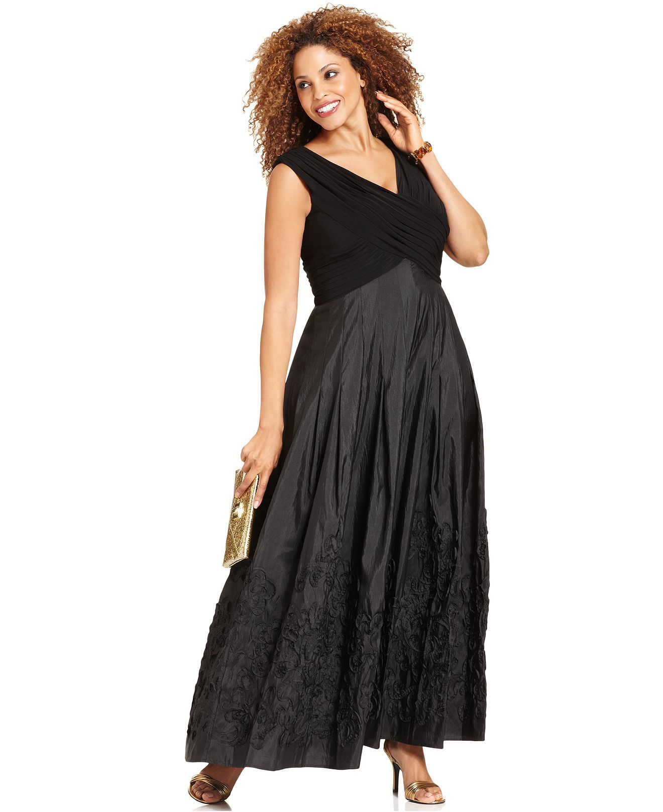 Patra Plus Size Dress, Sleeveless V-Neck Evening Gown - Plus Size ...