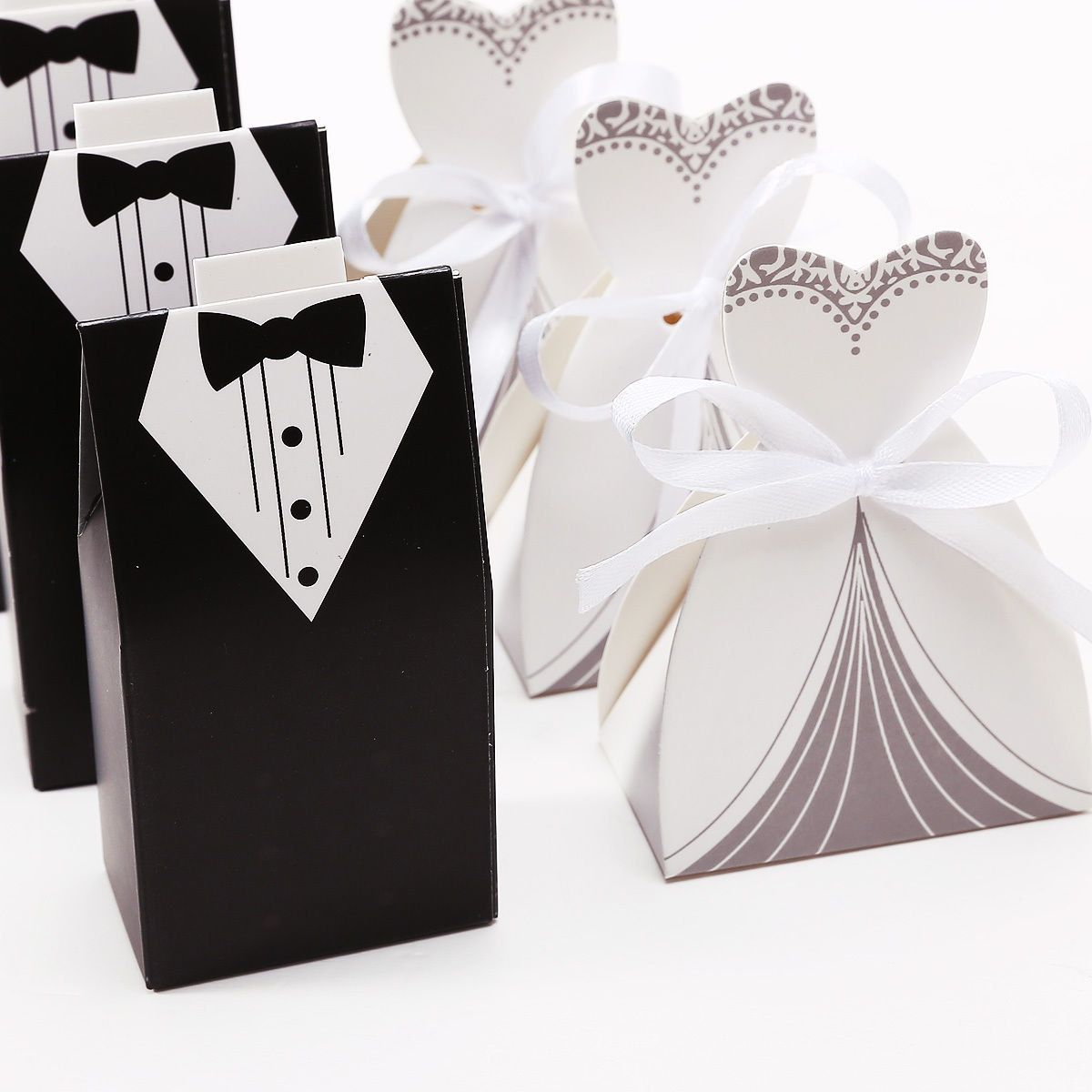 50 Wedding Favor Candy Boxes, Bride Dress & Groom Tuxedo Set (25 ...
