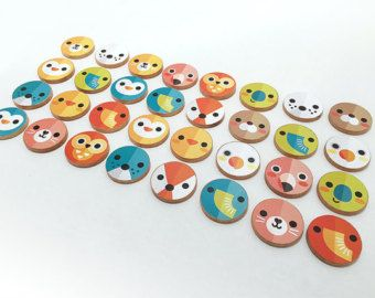 32-Piece Cute Animal Faces Memory Game / Matching Game / Wooden Toy / Montessori Toy