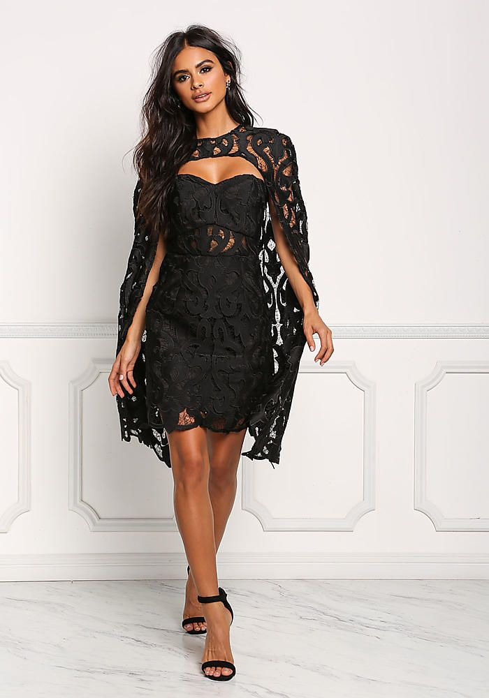 Black Two Piece Embroidered Cape Bodycon Dress Going Out Dresses