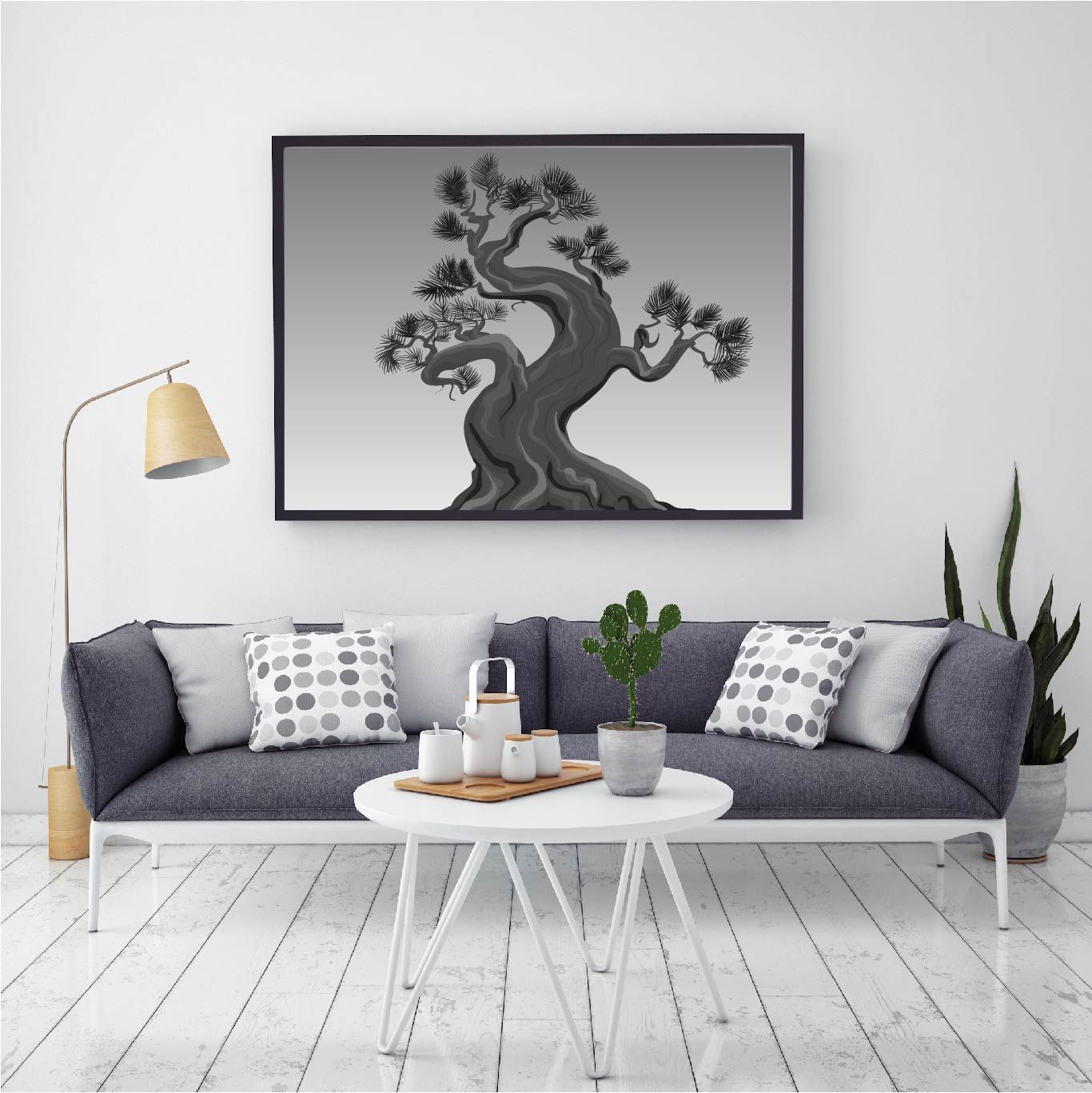 Black and white nature poster for living room office design home