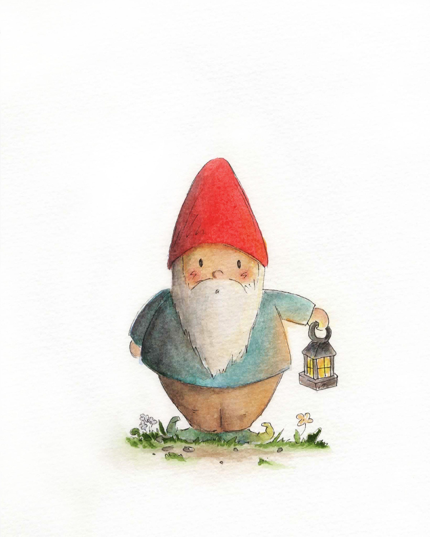 Gnome In Garden: Adorable Watercolor Gnome.