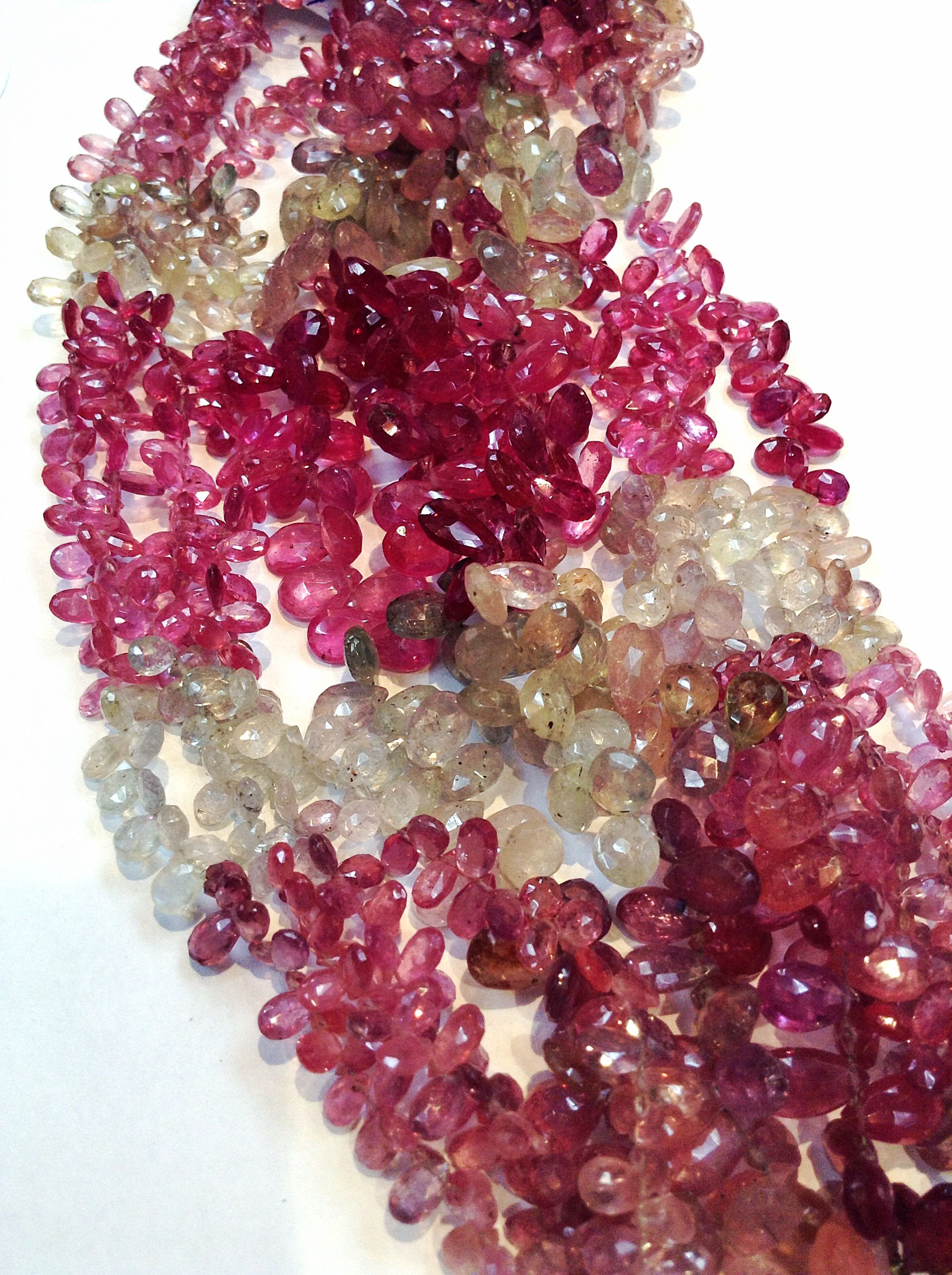 Pink and Green Sapphire Beads, Multi-Color Pear Shaped Drops