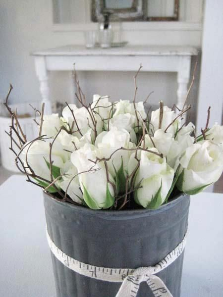 Love the bucket and measuring tape ribbon flowers pinterest amazing flowers mightylinksfo Gallery
