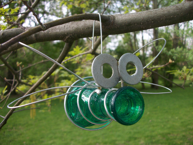 Outdoor Hanging Glass Bud Vase Jar Bug Garden Decor- GREEN. via Etsy ...