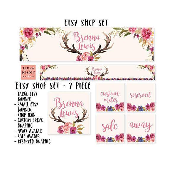 Banner for Etsy shop, Branding kit, Branding package, Boho banner