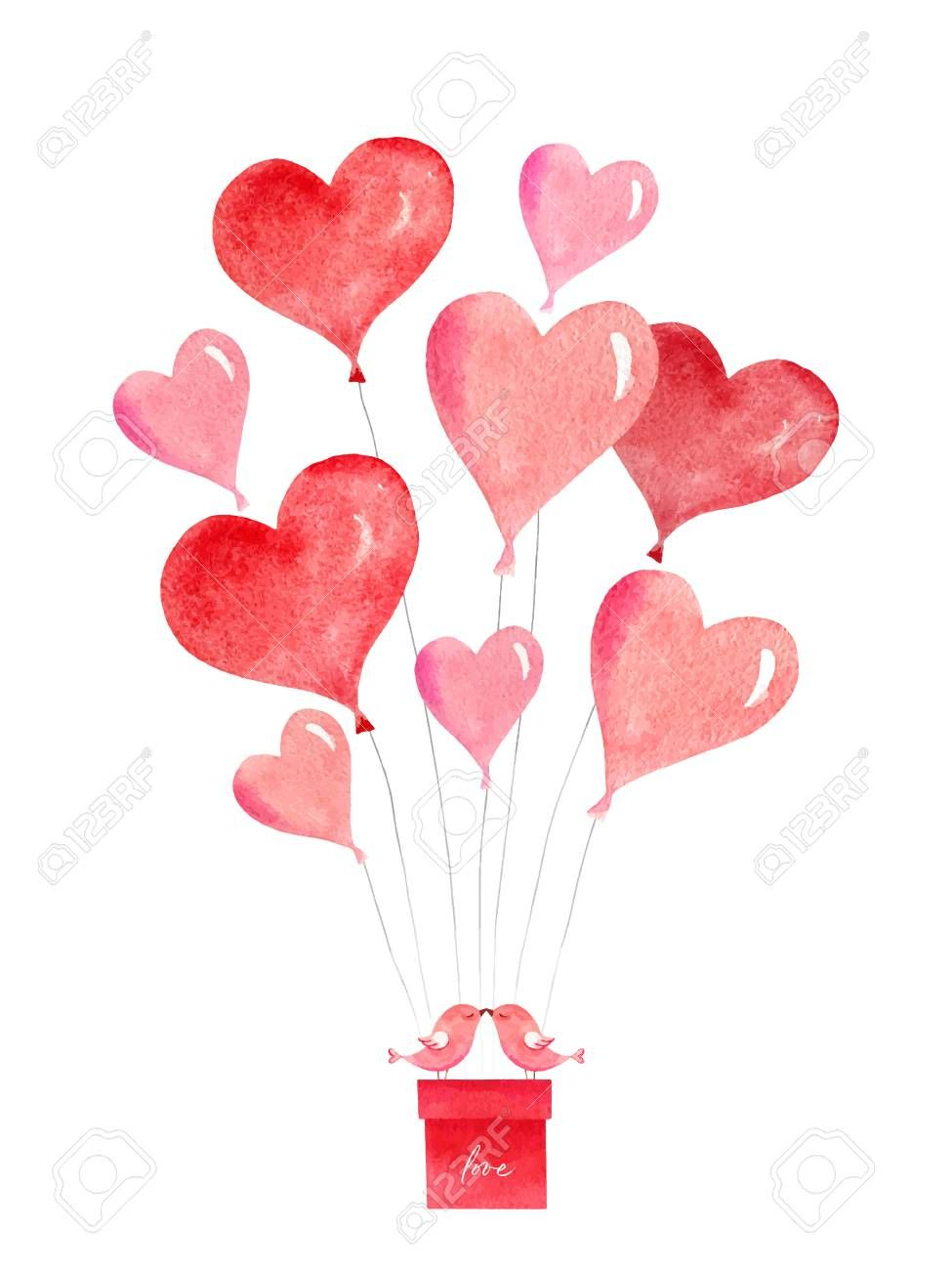 Happy Valentines Day Watercolor Vector Card With Flying Balloons